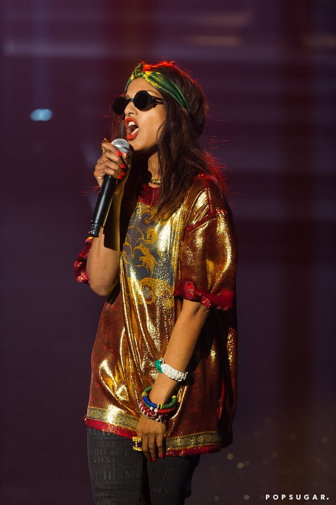 M.I.A. performed at the Etam lingerie show during Paris Fashion Week in February.