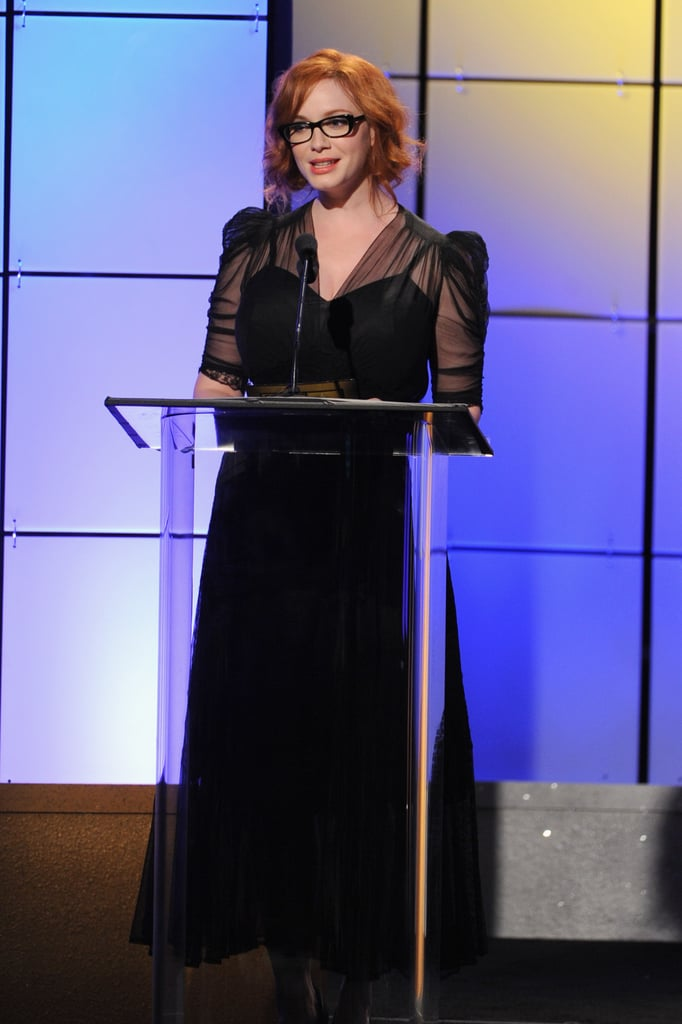 Christina Hendricks spoke on stage at the Critics' Choice Television Awards in LA.