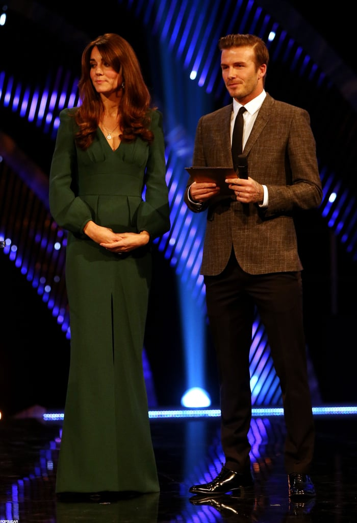 Kate Middleton wore a green dress at the London awards.