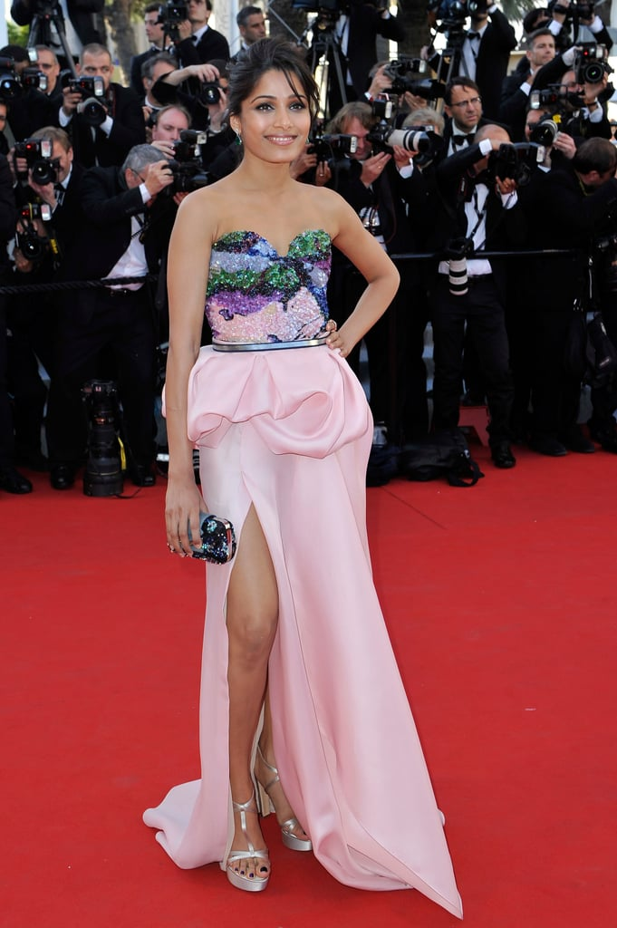 Freida Pinto stepped onto the red carpet at the opening of the Cannes Film Festival and the premiere of Moonrise Kingdom.