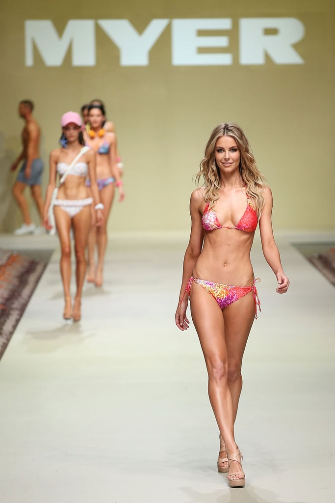 Jennifer Hawkins showed them how it's done when she hit the catwalk for the Myer Spring Summer 2013-'14 collections in Sydney on August 8.