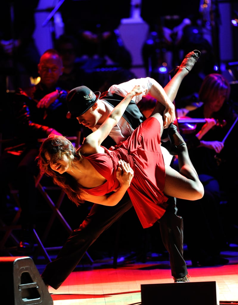 Channing Tatum held Jenna Dewan in the air for a dance at the Revlon Concert for the Rainforest Fund at Carnegie Hall in NYC.