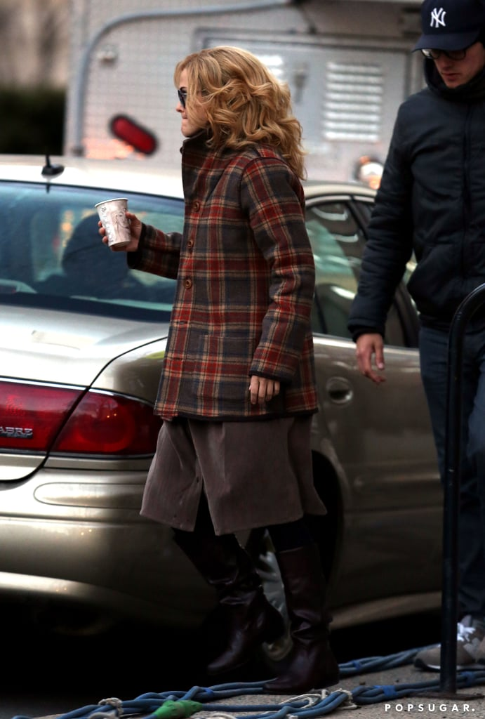 Keri Russell carried a coffee on set.