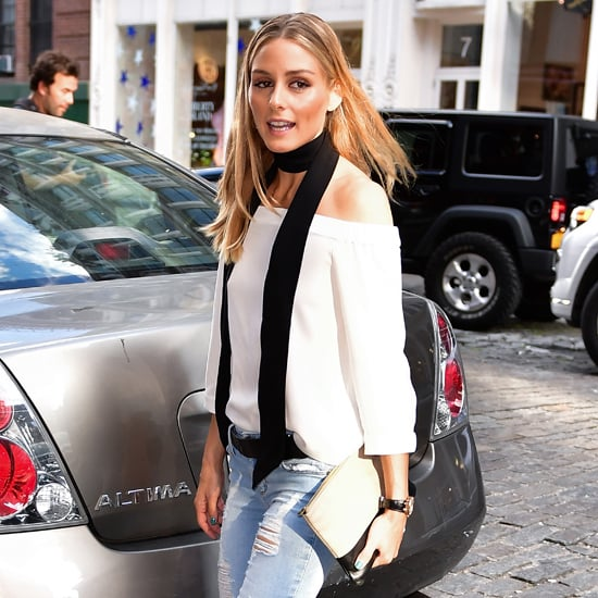 Olivia Palermo Wearing a Skinny Scarf July 2016