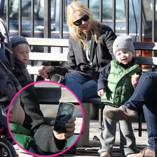 Pictures of Naomi Watts, Samuel Schreiber, and Sasha Schreiber During a Day at the Park in NYC