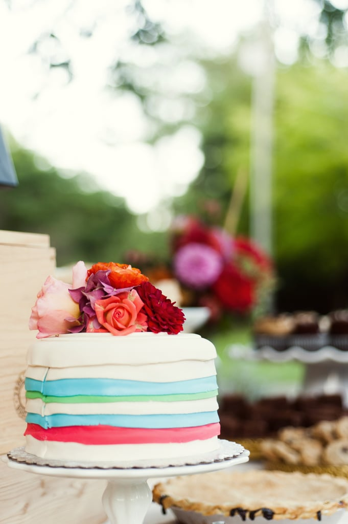 A cake that uses fondant for a pop of color — how cute!