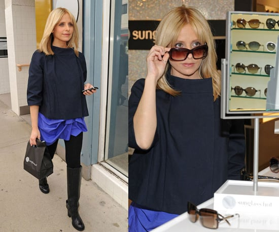 Sarah Michelle Gellar Visits The Sunglass Hut in Santa Monica Wearing a Blue Skirt and Navy Jacket