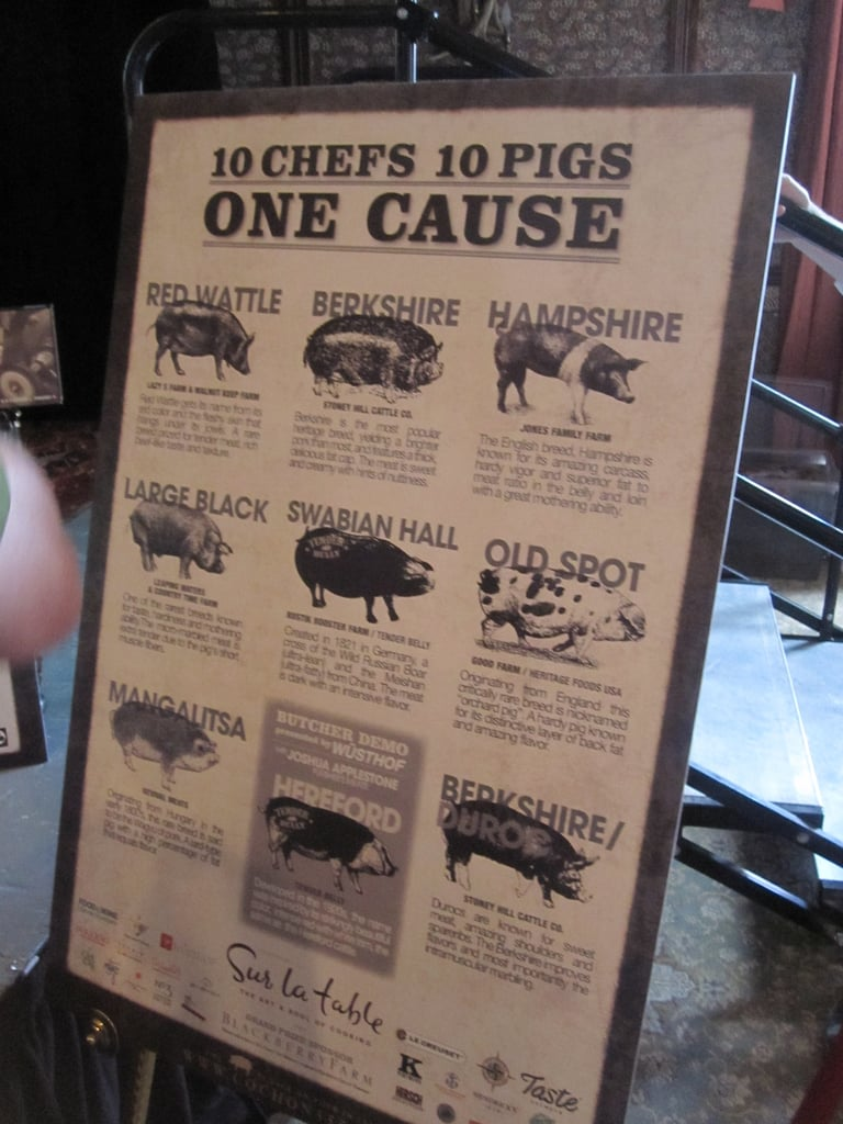 A poster described the 10 heritage pigs that were used at the event.