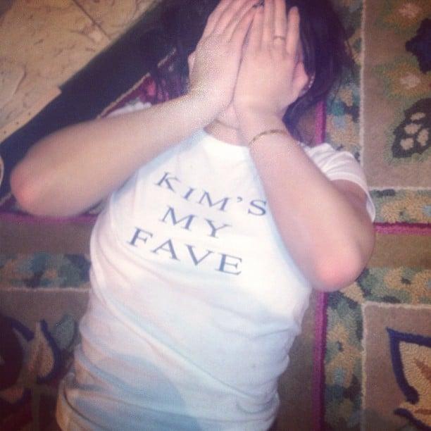 Kim Kardashian couldn't resist sharing a photo of Kylie Jenner's t-shirt. Source: Instagram user kimkardashian