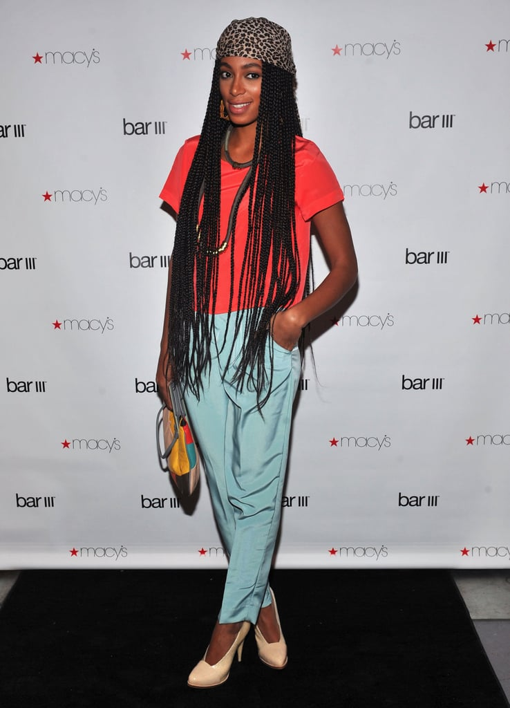Solange Knowles colorblocked in neon orange and seafoam blue for the Macy's Bar III pop-up launch in February 2011.