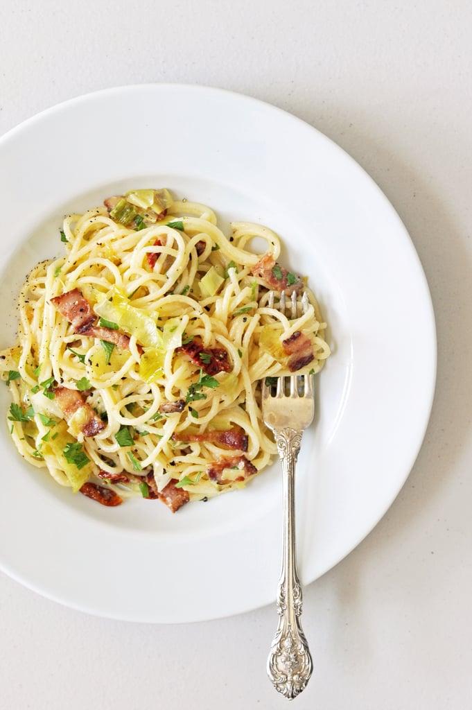 Pasta Carbonara With Leeks