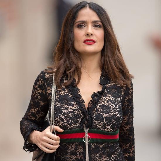 Salma Hayek's Gucci Dress on Jimmy Kimmel Live 2016