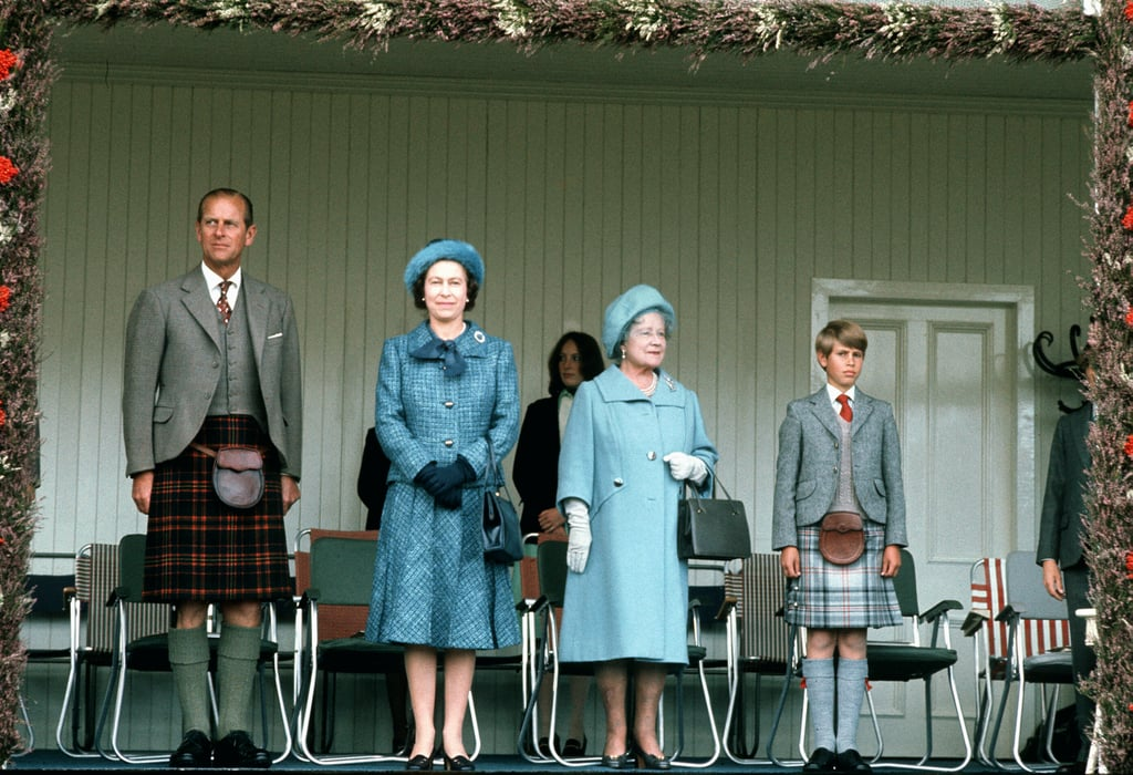 Queen Elizabeth II, her mother, Prince Philip, and Prince Edward attended Scotland's Braemar Gathering in 1975.