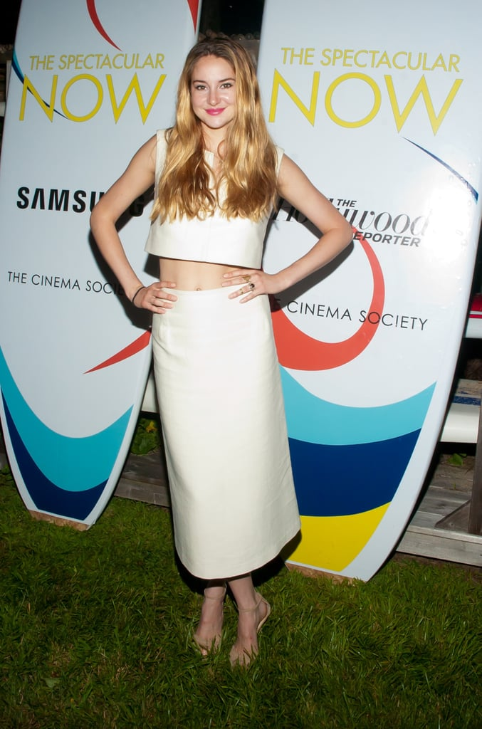 Shailene Woodley bared her midriff in a fashion-forward white crop top and matching skirt at a Samsung event in Montauk.
