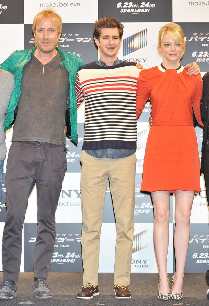 Rhys Ifans, Andrew Garfield, and Emma Stone linked up at the press conference for The Amazing Spider-Man in Japan.