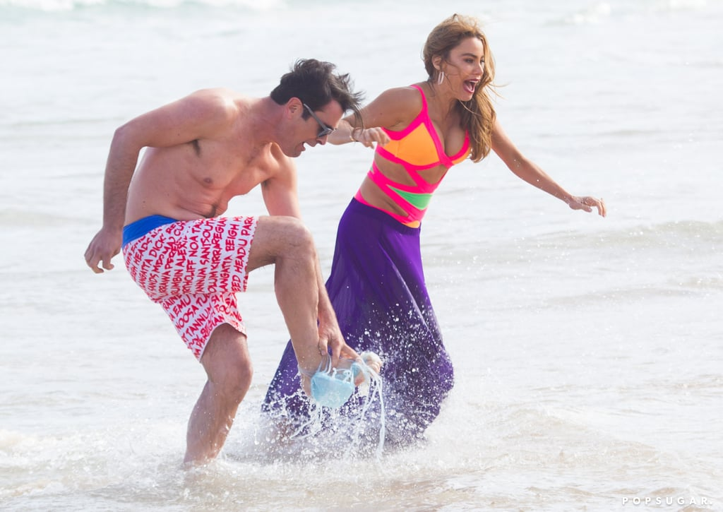 Sofia Vergara looked amazing in her bright swimsuit while filming a hilarious Modern Family scene in Sydney.