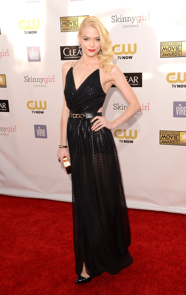 Jamie King wore a sexy black gown to hit the red carpet.