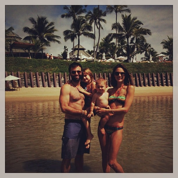 Alessandra Ambrosio and her husband, Jamie Mazur, posed with their kids, Anja and Noah, during a recent family vacation in Brazil. Source: Instagram user alessandraambrosio