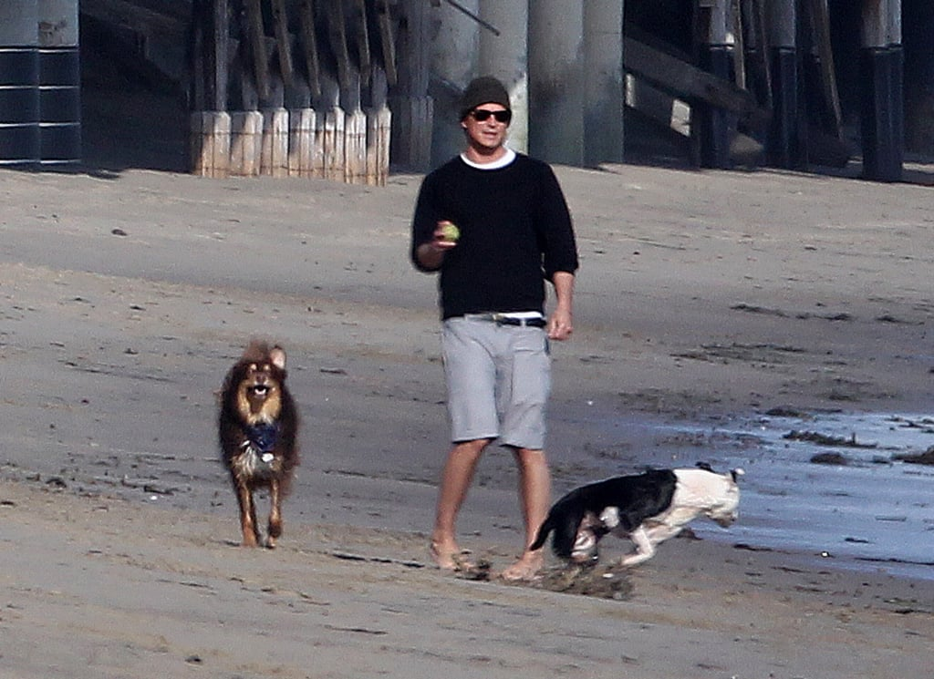 In January 2012, Josh Hartnett spent a day at the beach with two adorable four-legged friends in LA.