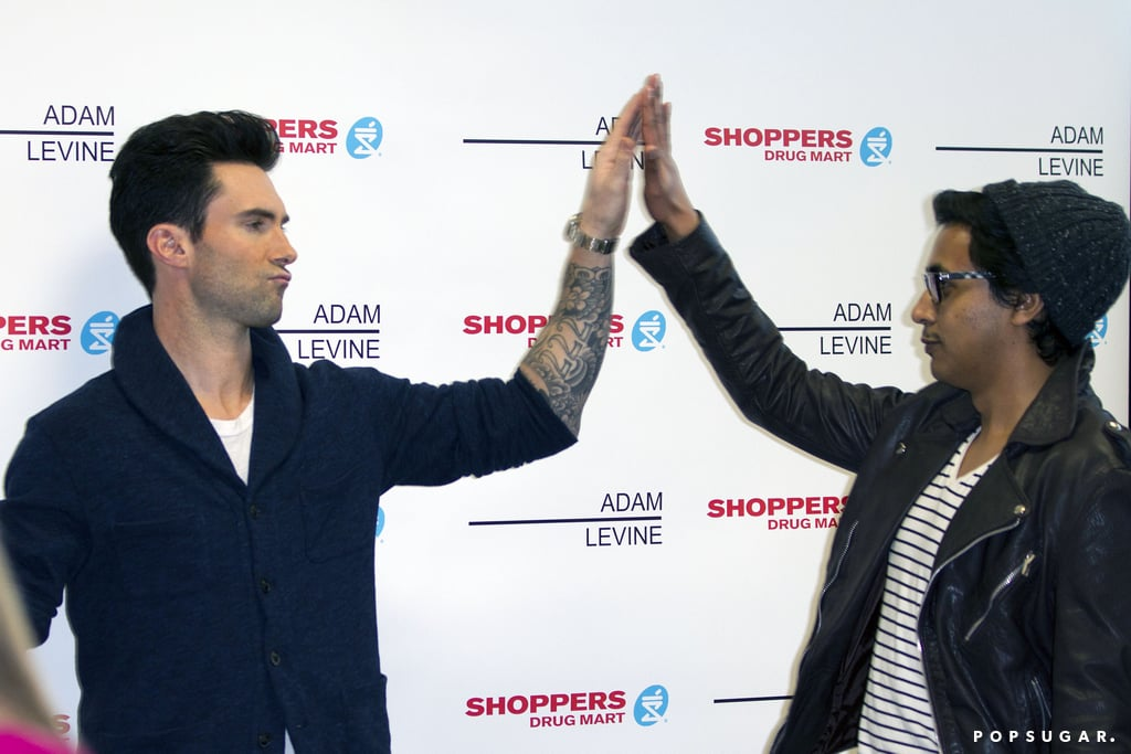 In March, Adam Levine got a groovy high five in Vancouver.