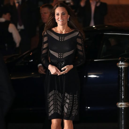 Kate Middleton Pregnant in Black Temperley Dress 2014