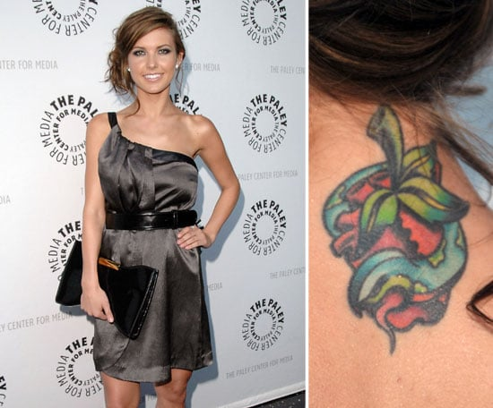 Audrina Patridge has a colourful strawberry snake tattoo on the back of her neck.