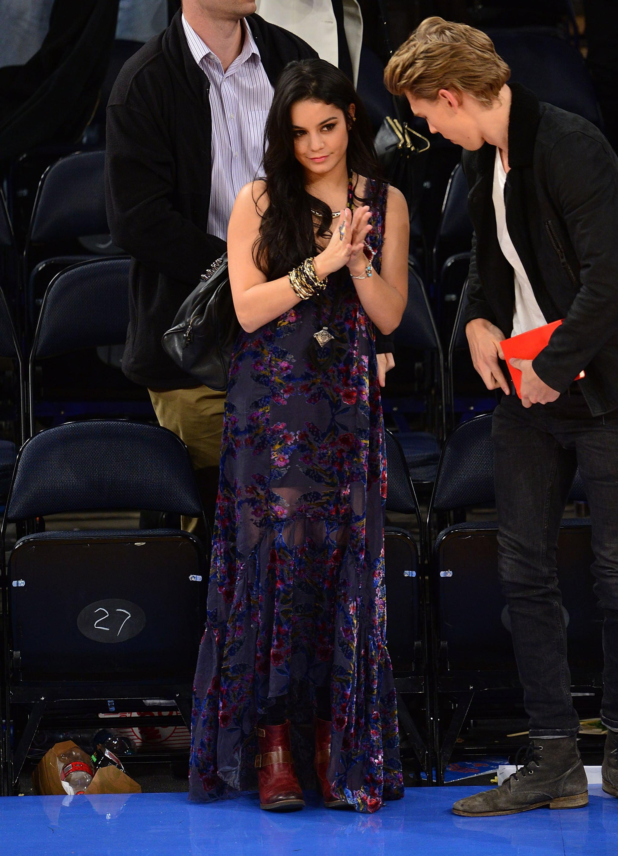 Vanessa Hudgens showcased a hippie-chic look while checking out a Knicks game in November 2012.