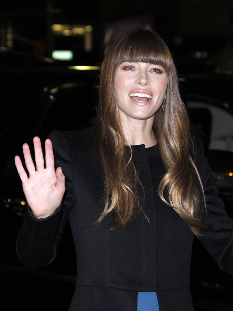 Jessica BIel smiled for photographers in NYC.