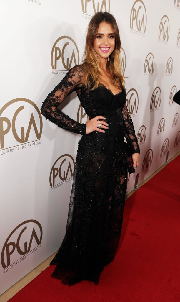 Jessica Alba wore an embellished lace dress from Elie Saab Couture paired with Harry Winston jewels, Casadei shoes, and a Roger Vivier clutch.