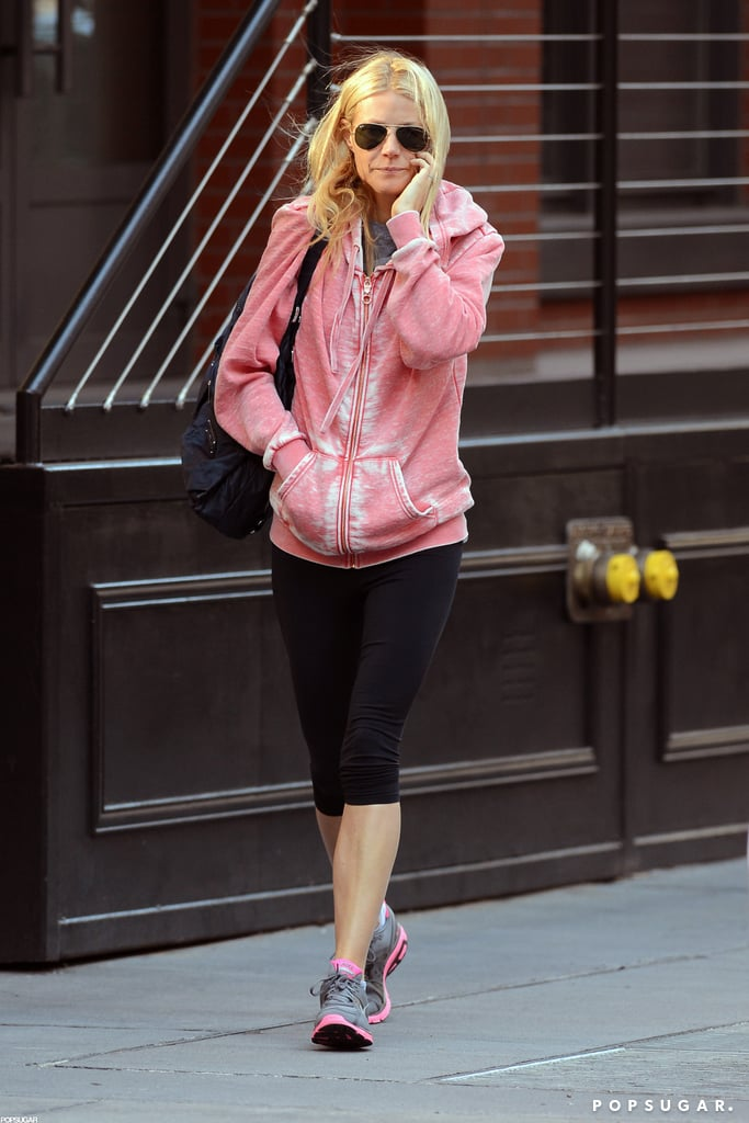 Gwyneth Paltrow chatted on her phone.