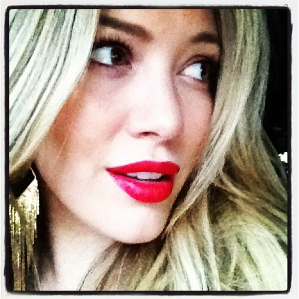 Hilary Duff donned red lipstick for a night out. Source: Twitter user HilaryDuff