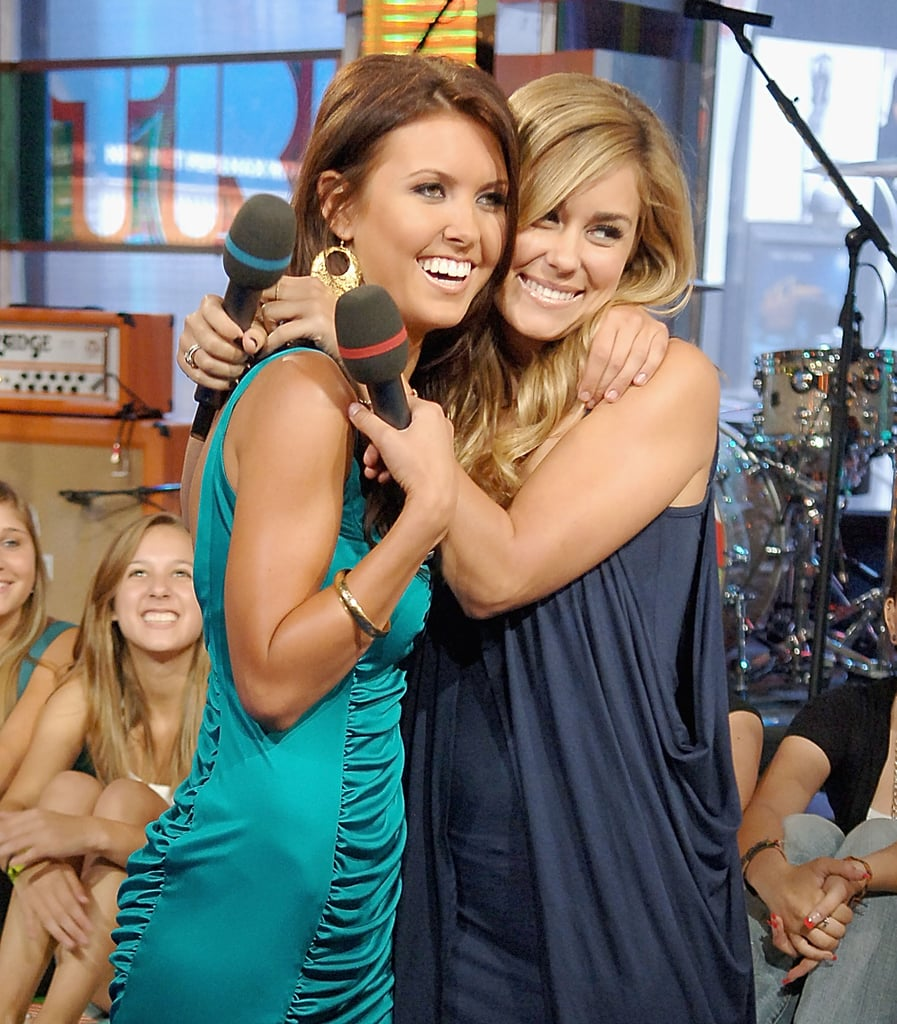 Lauren Conrad wrapped her arms around Audrina Patridge during an August 2007 appearance on TRL.