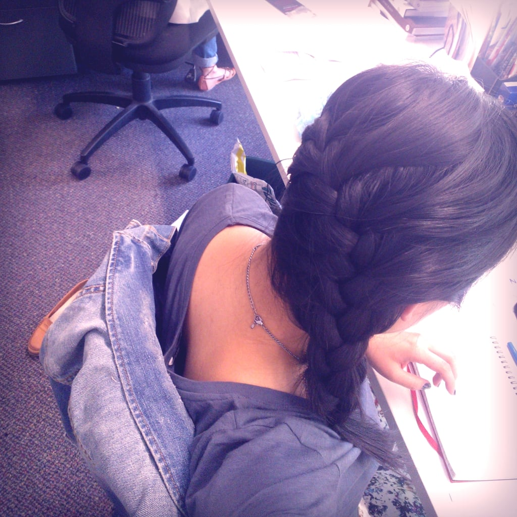 Desk-side braid! Just a fun way to pull back my hair when I want something a little fancier than a ponytail.