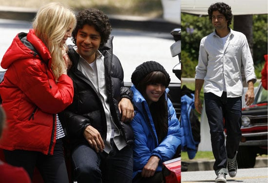 Adrian Grenier Films a Commercial With Lots of Models