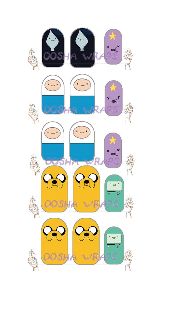 Finn, Jake, BMO, and the gang are all present in the Adventure Time Nail Wrap ($6 for 15).