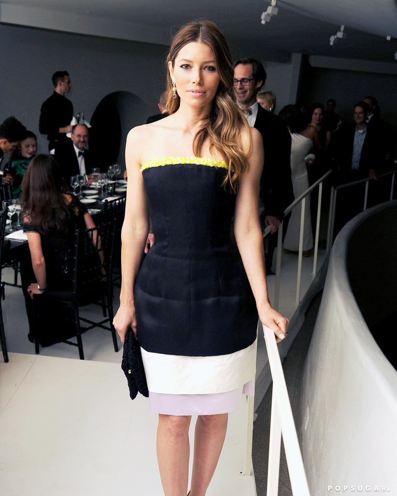 Jessica Biel posed for photos inside the Guggenheim International Gala.