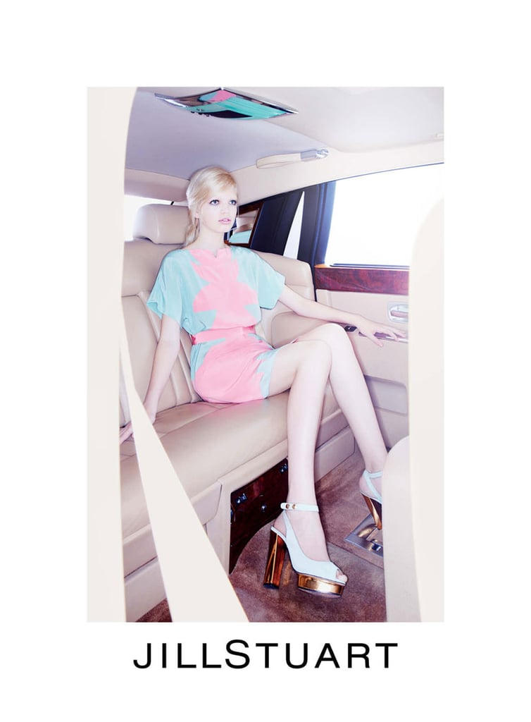 Daphne Groeneveld poses in the (big) car in Jil Stuart's campaign.