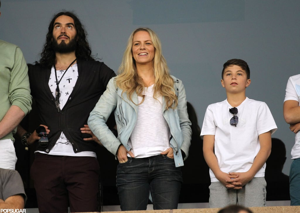Russell Brand watched the LA Galaxy play in LA.