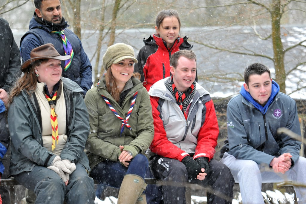 Kate Middleton hung out by a campfire.