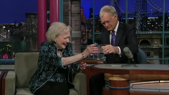 Video of Betty White's Birthday Party and Drinking Vodka on Letterman
