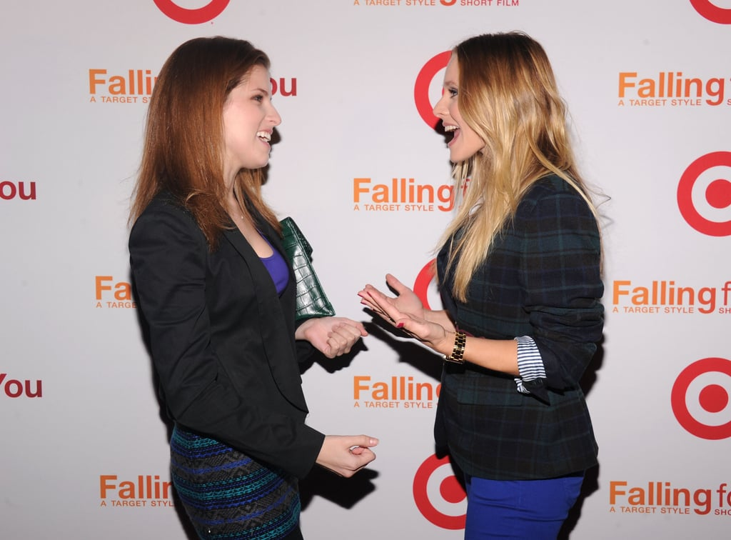 Kristen Bell chatted with Anna Kendrick at the Target party in NYC.