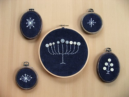 Cute Idea: Embroidered Menorah