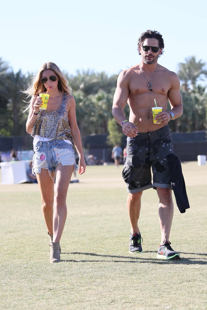 Joe Manganiello went shirtless in the desert at weekend two of Coachella 2012.