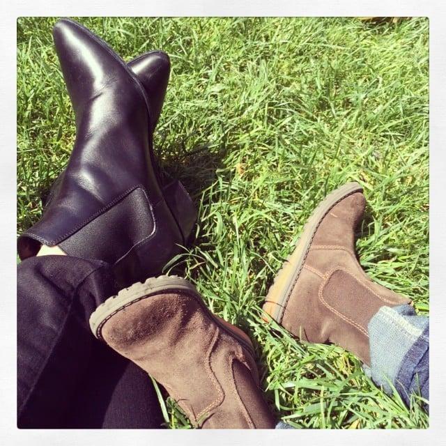 Miranda Kerr showed off her semimatching boots with her son, Flynn. Source: Instagram user mirandakerr