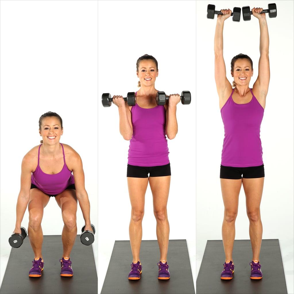 Circuit 2, Move 1: Squat, Curl, and Press