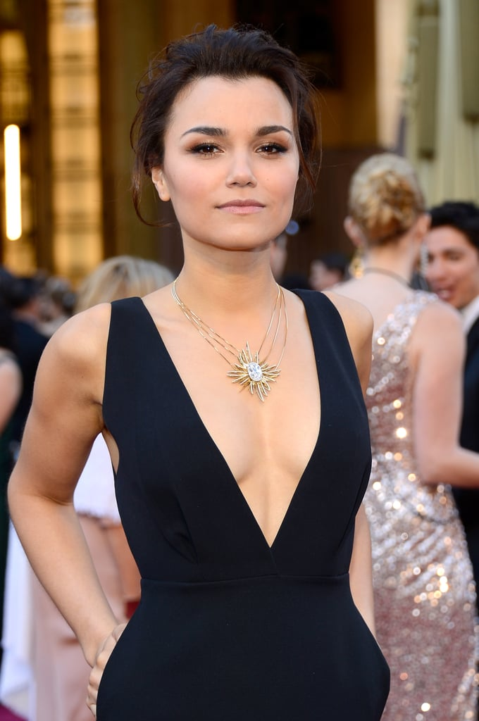 Samantha Barks on the red carpet at the Oscars 2013.