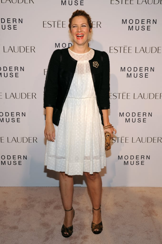 Drew Barrymore hit the red carpet for Estée Lauder's Modern Muse party.