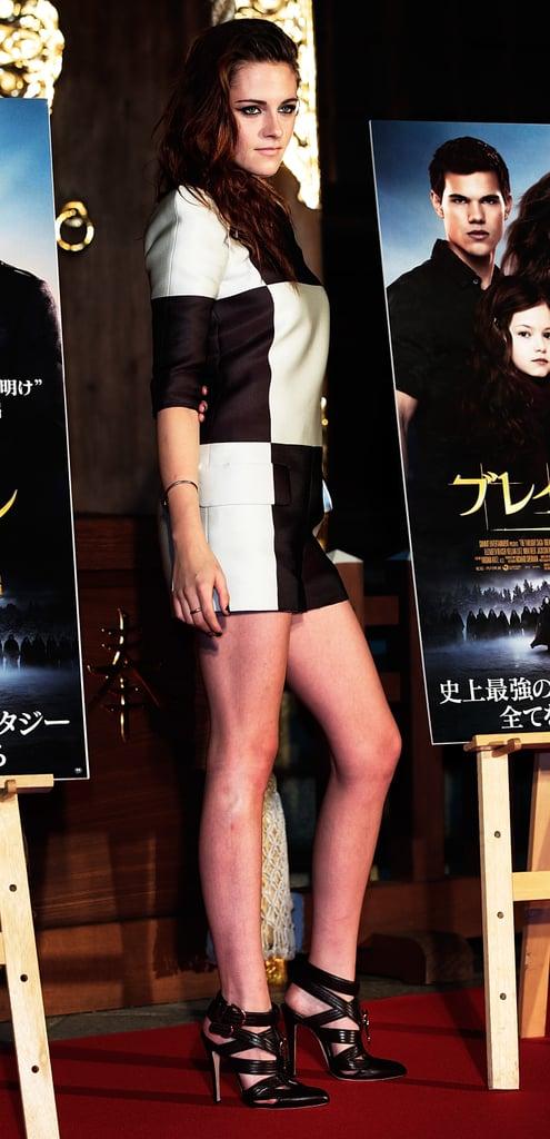 Kristen Stewart wore a black-and-white jumpsuit in Japan.