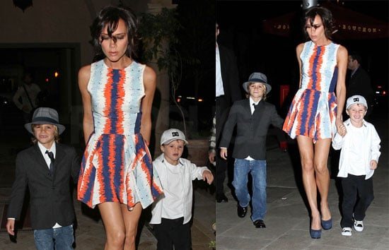 Photos of Victoria Beckham in LA With Her Boys Out to Dinner