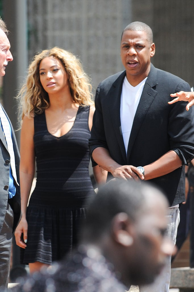 Beyonce Knowles and Jay Z wore all black to mourn Trayvon Martin at a vigil in New York City on July 20.